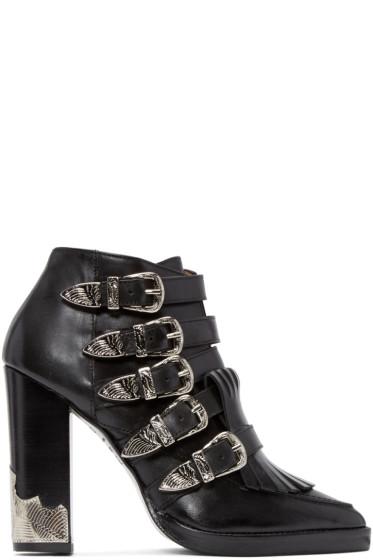 Toga Pulla - Black Heeled Western Buckle Boots