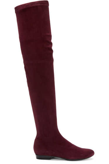 Robert Clergerie - Burgundy Suede Fetel Over-the-Knee Boots