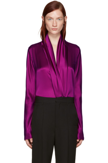 Haider Ackermann - Purple Draped Silk Blouse