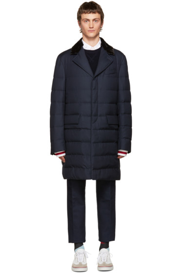 Moncler Gamme Bleu - Blue Fur-Trimmed Down Jacket