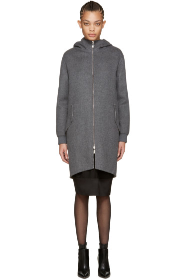 Moncler Gamme Rouge - Grey Wool Rosier Coat