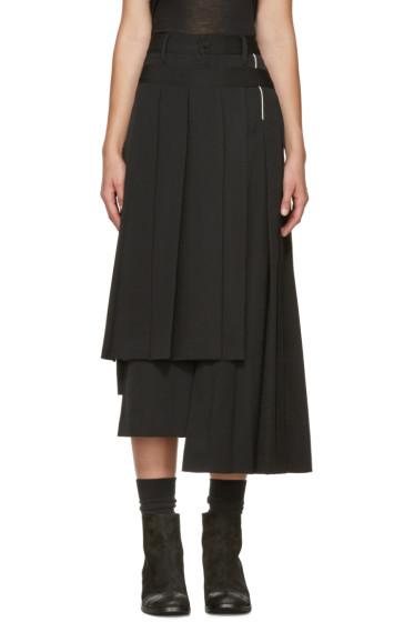 Yohji Yamamoto - Black Pleated Wrap Skirt