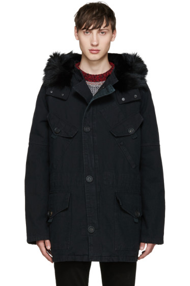 Yves Salomon - Black Fur Military Parka