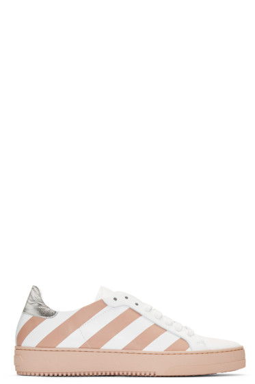 Off-White - White & Pink Diagonals Sneakers