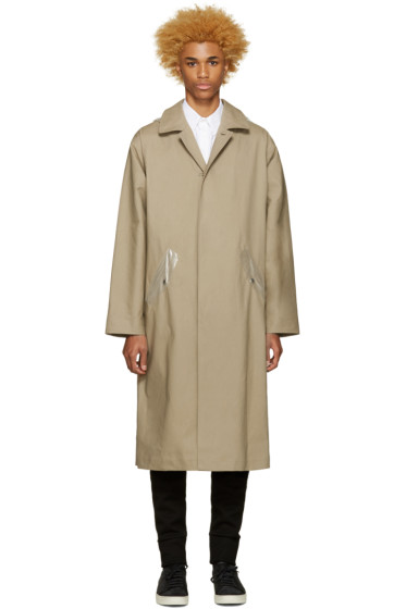 Off-White - Beige Hooded Raincoat