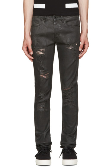 Off-White - Black Distressed Coated Jeans