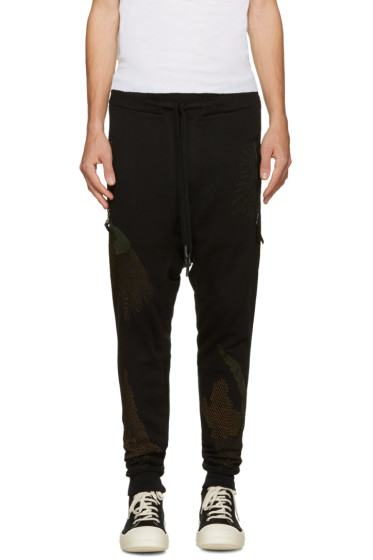 11 by Boris Bidjan Saberi - Black Embroidered Drop Crotch Lounge Pants