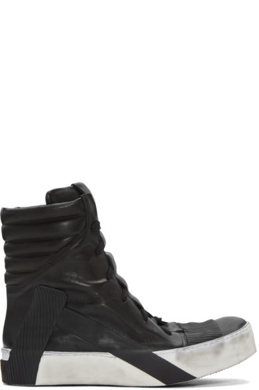 Boris Bidjan Saberi - Black Distressed High-Top Sneakers