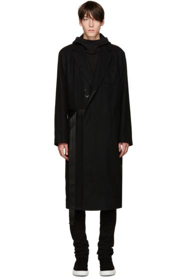D by D - Black Seatbelt Strap Coat