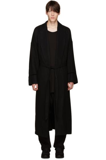 D by D - Black Wool Robe Coat