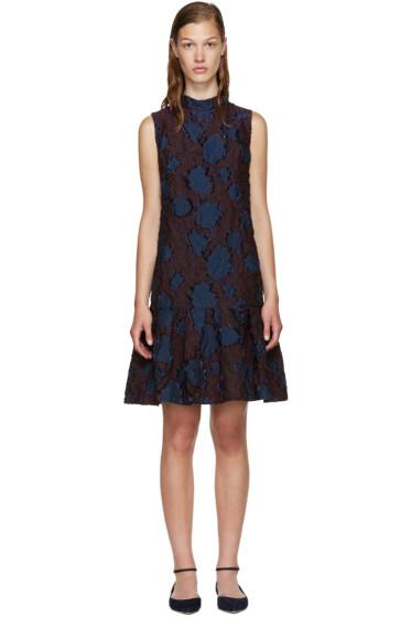 Erdem - Burgundy & Navy Nena Dress