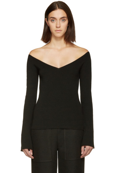 Lemaire - Black V-Neck Off-the-Shoulder Sweater
