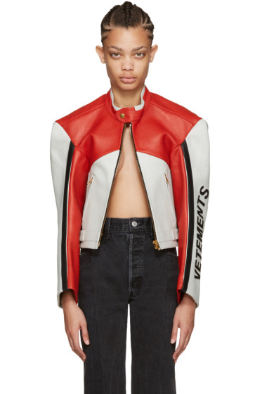Vetements - Tricolor Leather Racing Jacket