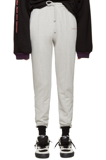 Vetements - Grey Embroidered Logo Lounge Pants