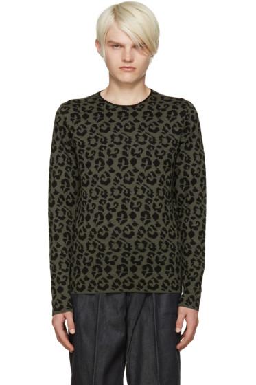 Loewe - Green Jacquard Leopard Sweater