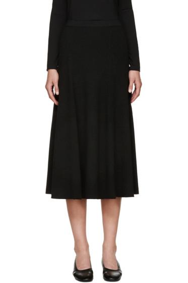 Rosetta Getty - Black Wool Ribbed Flared Skirt