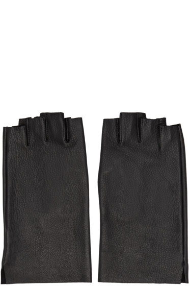Attachment - Black Leather Fingerless Gloves