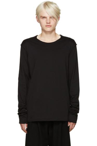 Attachment - Black Raw Edge Layered T-Shirt