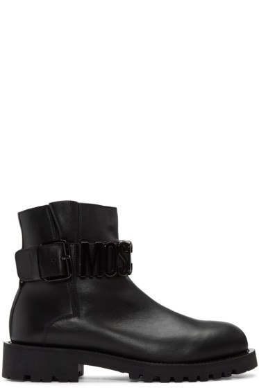 Moschino - Black Leather Logo Boots