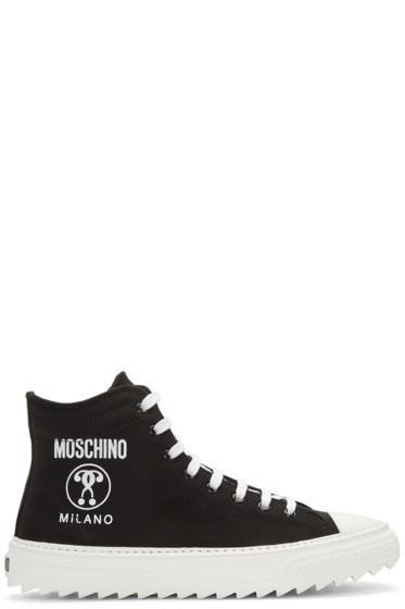 Moschino - Black Canvas Logo High-Top Sneakers