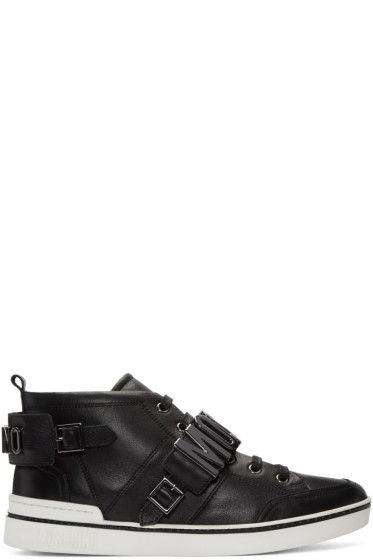 Moschino - Black Logo Mid-Top Sneakers