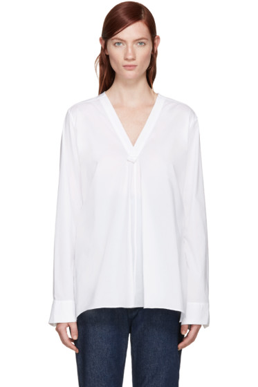 Y's - White V-Neck Blouse