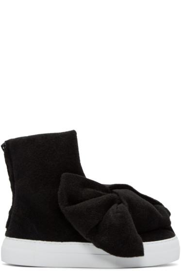 Joshua Sanders - Black Felt Bow High-Top Sneakers