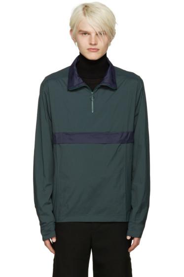 CMMN SWDN - Green & Navy Nylon Zip Jacket
