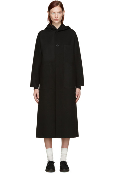 Hyke - Black Hooded Coat