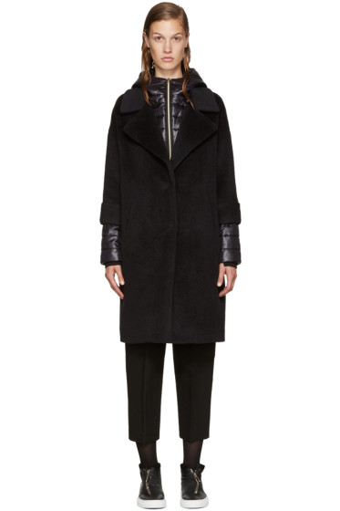 Herno - Black Wool Quilted Coat