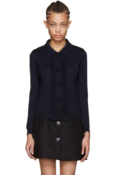 Miu Miu - Navy Ruffled Knit Cardigan