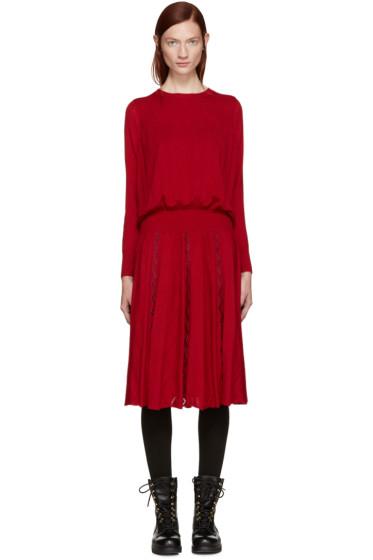 Harikae  - Red Knit Pleated Dress