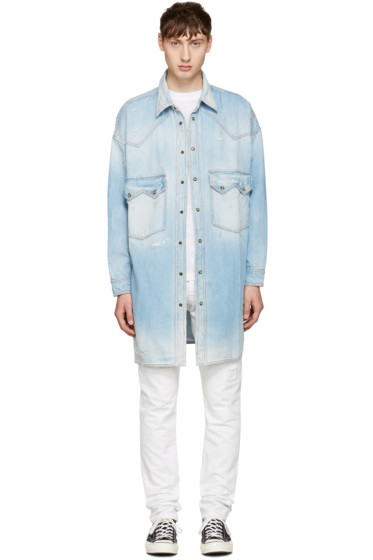 Faith Connexion - Blue Distressed Denim Shirt