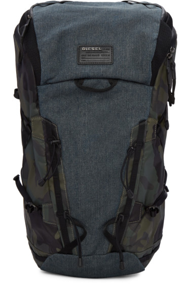 Diesel - Blue Denim & Camo D-Running Backpack