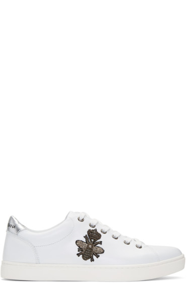 Dolce & Gabbana - White Embroidered Bee Crown Sneakers
