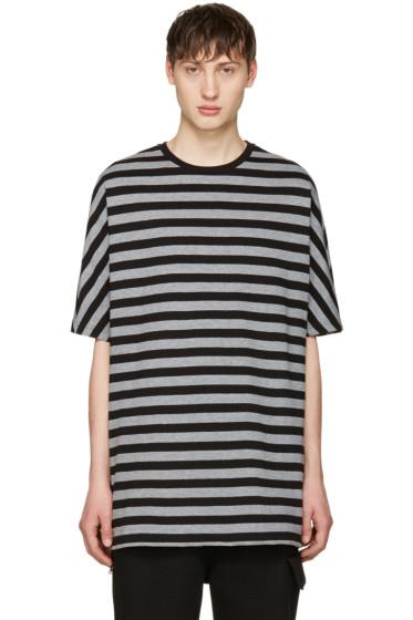 Diesel Black Gold - Black & Grey Striped T-Shirt