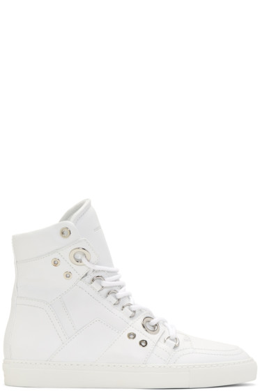 Diesel Black Gold - White Leather High-Top Sneakers
