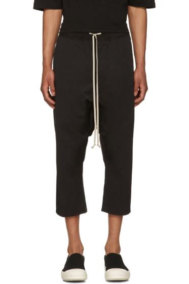 Rick Owens Drkshdw - Black Drawstring Cropped Trousers
