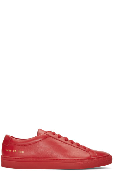 Common Projects - Red Original Achilles Low Sneakers