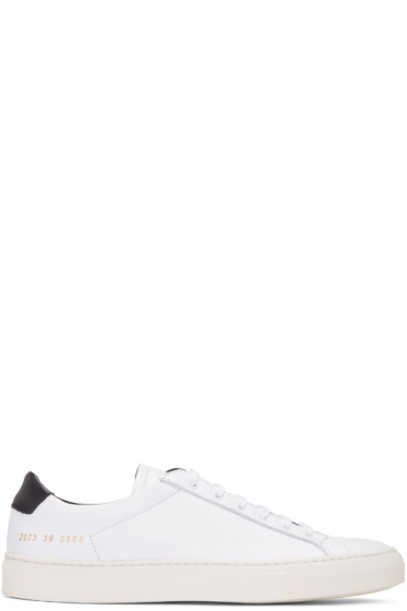 Common Projects - White & Black Achilles Retro Low Sneakers
