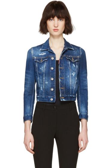 Dsquared2 - Blue Denim Distressed Cropped Jacket