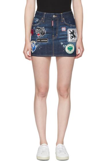 Dsquared2 - Blue Denim Patches Miniskirt