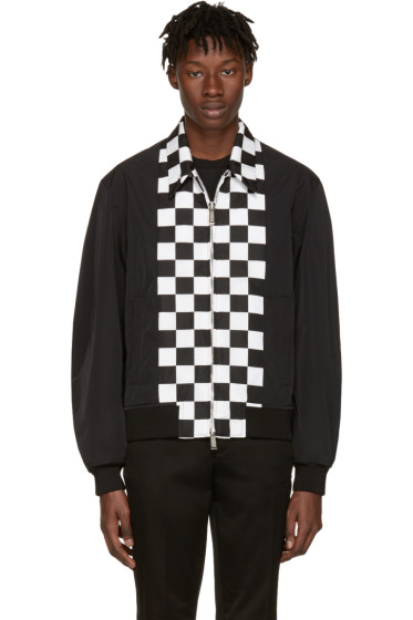 Dsquared2 - Black Checkerboard Bomber Jacket
