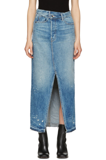 Helmut Lang - Blue Denim Reconstructed Skirt