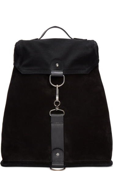 Maison Margiela - Black Suede & Canvas Backpack