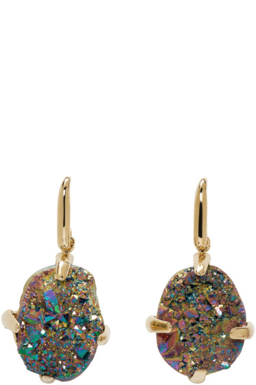 Christopher Kane - Gold & Iridescent Single Stone Earrings