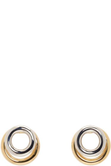 Alexander Wang - Silver & Gold Double Ring Earrings
