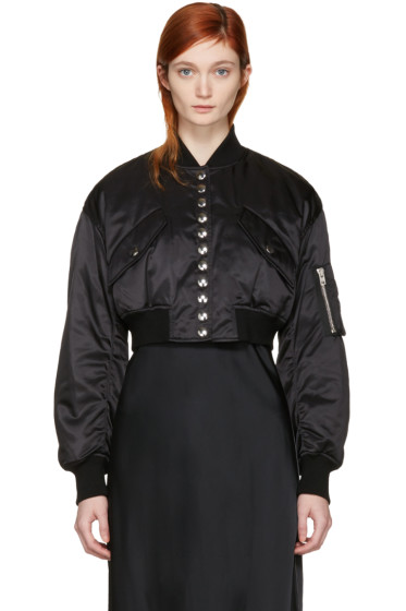 Alexander Wang - Black Cropped Bomber Jacket