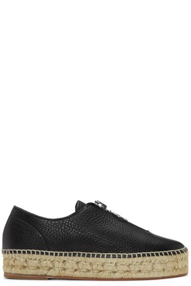 Alexander Wang - Black Leather Zip-Up Devon Espadrilles