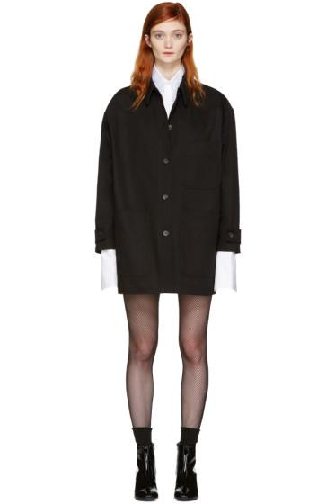 MM6 Maison Margiela - Black Denim Oversized Belted Jacket